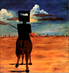 One of Sidney Nolan's famous depictions of Ned Kelly