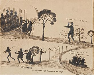 'Buckley's Escape' by Tommy McRae. Source: National Museum of Australia