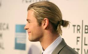 Aussie actor Chris Hemsworth sporting a man-bun